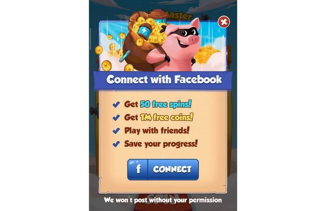Liên kết Facebook để nhận lượt quay miễn phí trong Coin Master