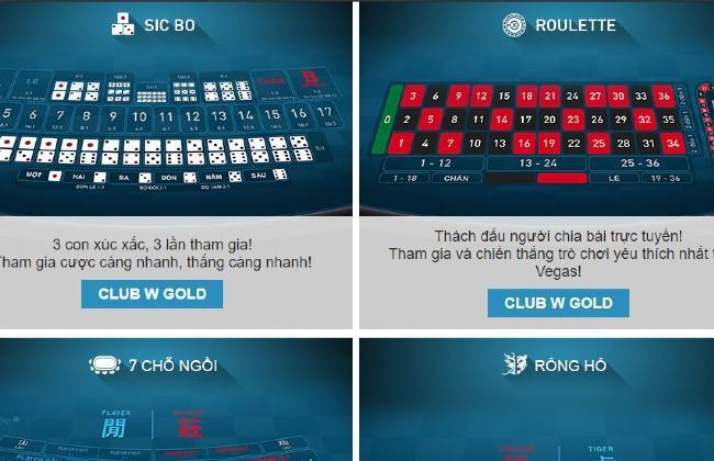 Một số trò chơi có trong Casino trực tuyến của w88