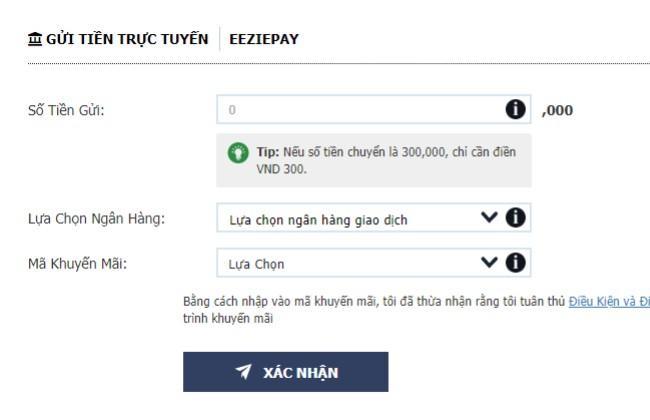 Khi bạn chuyển tiền bằng Gửi tiền trực tuyến – EeziePay