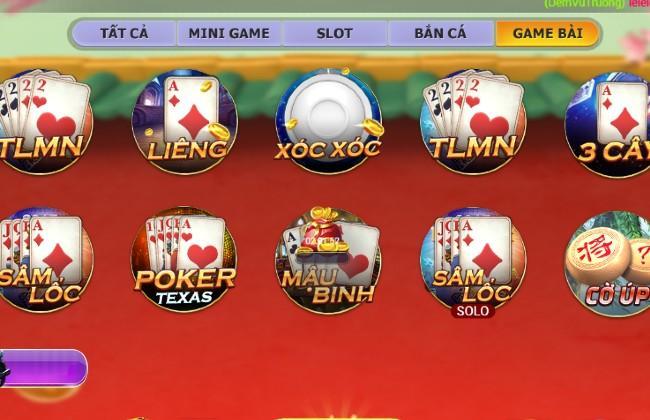 Những trò chơi bài có ở Nagavip