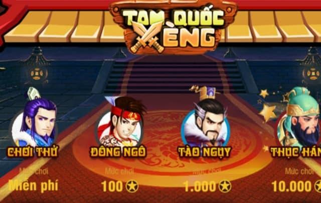 Game có 3 phòng chơi với mức độ tăng dần 100,1.000,10.000 Sao