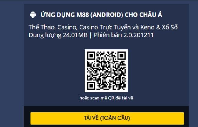 Mã QR để tải m88 về Android