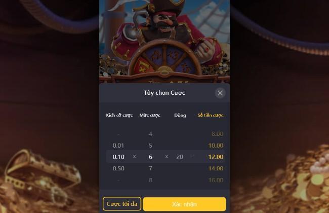 Mức cược Bảng trả thưởng chi tiết Chơi ngay Tăng tiền cọc Captain's Bounty