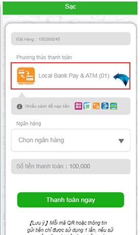 Nạp tiền Local Bank bước 3 chọn hình thức thanh toán Local bank pay
