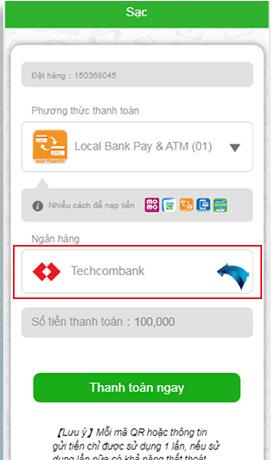 Nạp tiền Local Bank bước 4 chọn ngân hàng muốn gửi