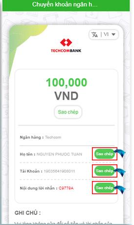 Nạp tiền Local Bank bước 5 điền thông tin và gửi