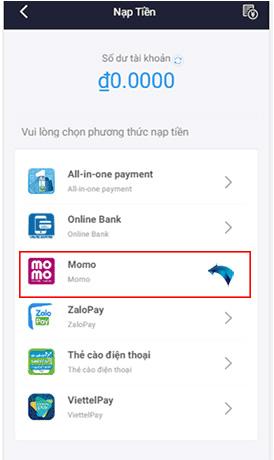 Trong mục nạp tiền của website bạn chọn hình thức MOMO và chọn số tiền cần nạp