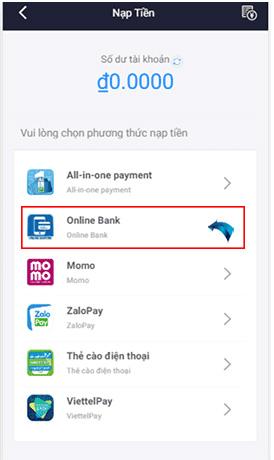 Trong mục nạp tiền vào phần Online Bank