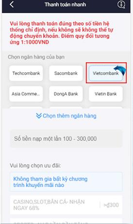 Bạn chọn ngân hàng có tài khoản Online Banking của bạn để nạp