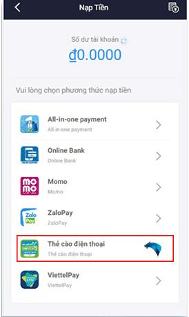 Đăng nhập giao diện nạp tiền => Thẻ cào điện thoại để tiến hành nạp tiền