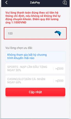Trong mục nạp tiền của website bạn chọn hình thức ZaloPay và chọn số tiền cần nạp