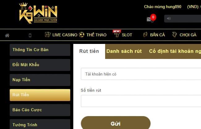 Thông tin cần điền khi rút tiền tại k9win