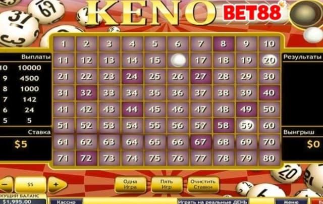 Chơi Keno hấp dẫn tại Bet 88