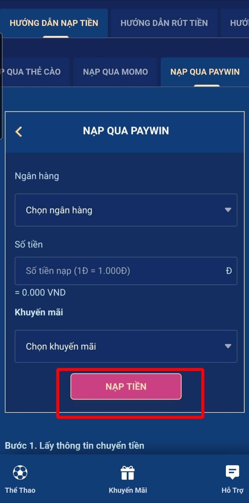 Bấm chọn NẠP TIỀN để hoàn thành quá trình nạp tiền qua paywin