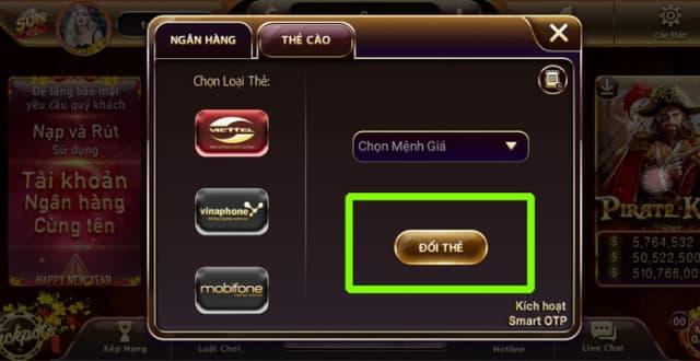 Bấm chọn ĐỔI THẺ để hoàn thành quá trình rút tiền qua thẻ cào điện thoại