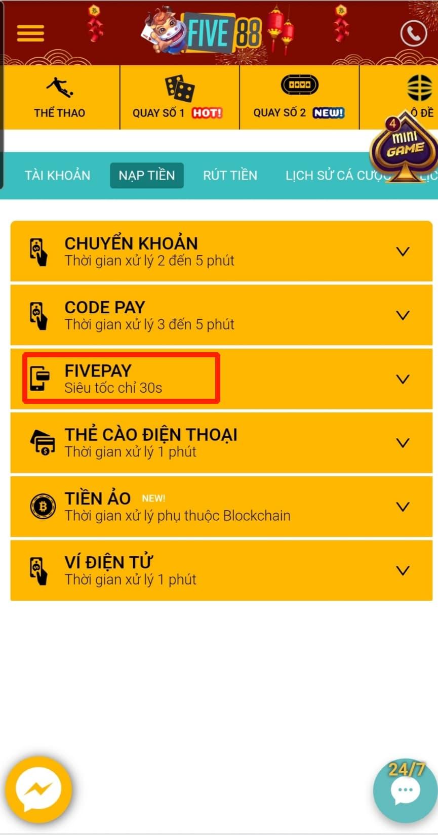 Five88 - Bấm chọn FIVE PAY