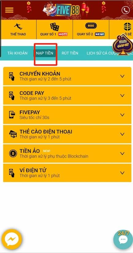 Bấm chọn NẠP TIỀN trên menu của five88