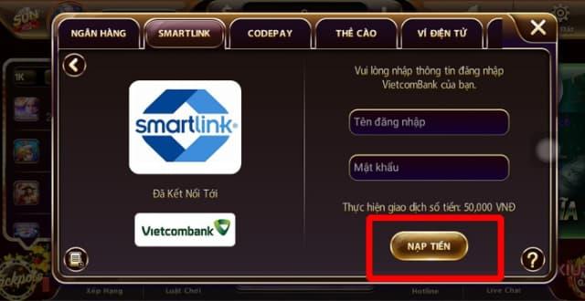 Bấm chọn NẠP TIỀN để hoàn thành quá trình nạp tiền qua Smartlink