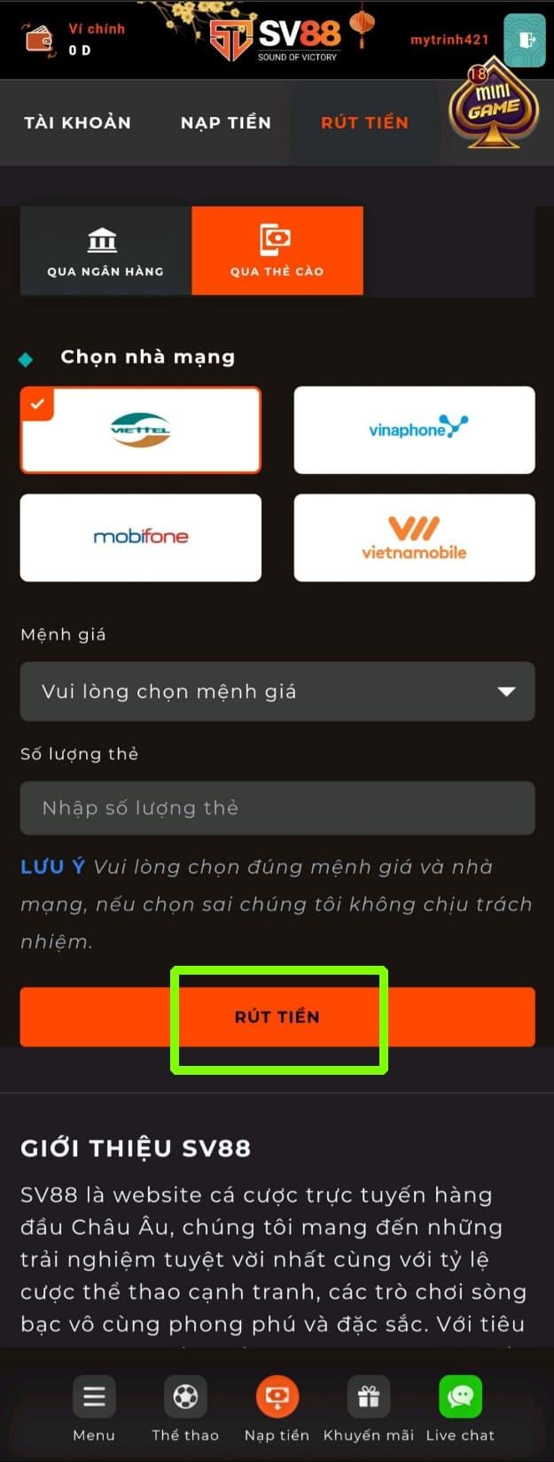 Bấm chọn XÁC NHẬN để hoàn thành quá trình rút tiền qua thẻ cào điện thoại