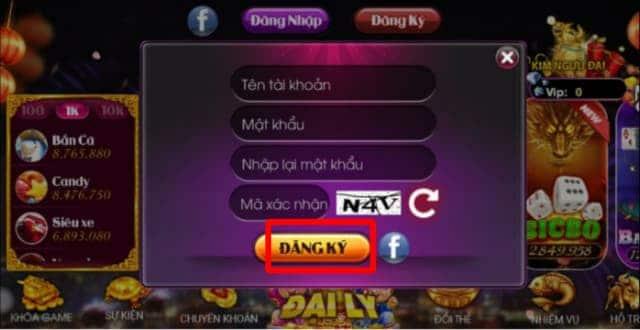 Bấm chọn ĐĂNG KÝ để hoàn thành quá trình đăng ký tài khoản game Nohu club