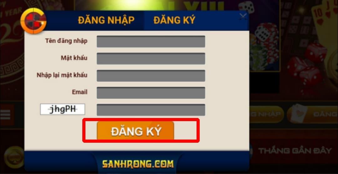 Bấm chọn nút ĐĂNG KÝ để hoàn thành quá trình đăng ký tài khoản tại Sảnh Rồng