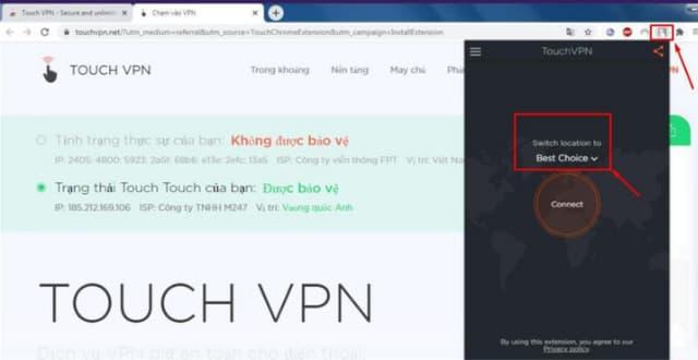 """Bấm vào OpenVPN trên góc phải để bắt đầu quá trình sử dụng. Sau đó chọn """"Connect"""""""