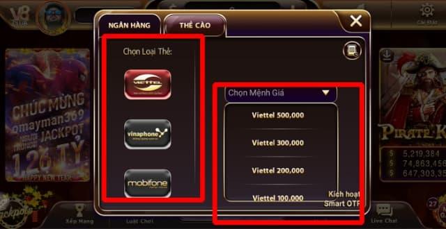 Các mệnh giá của thẻ cào tại v8.club
