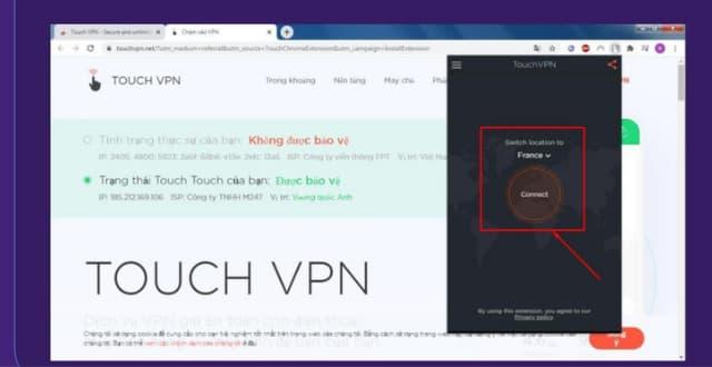 """Bấm chọn """"Connect"""" để bắt đầu quá trình kết nối VPN"""