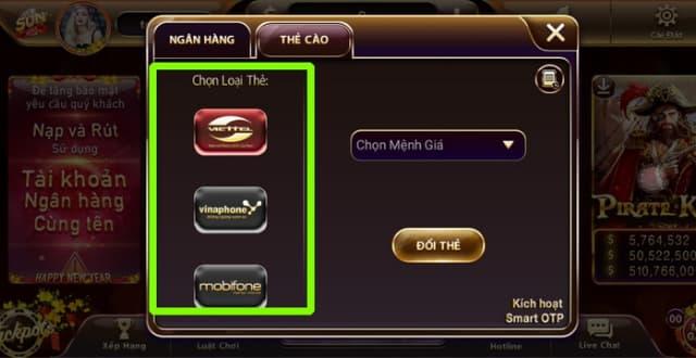 Lựa chọn loại thẻ ngân hàng để bắt đầu quá trình rút tiền qua thẻ cào