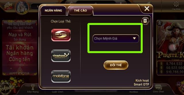 Chọn mệnh giá theo thẻ cào điện thoại để rút tiền