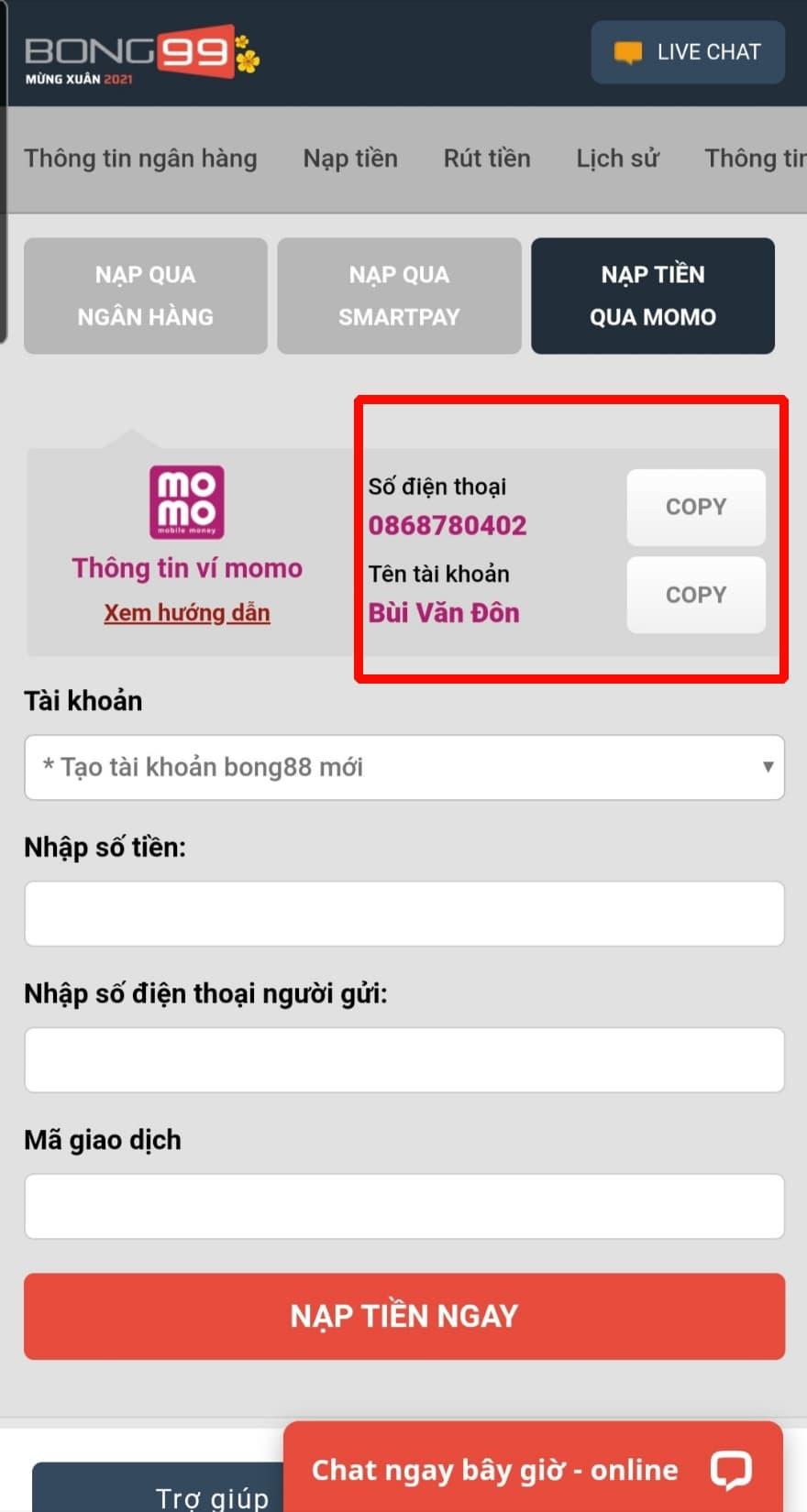Copy Số điện thoại và Tên tài khoản