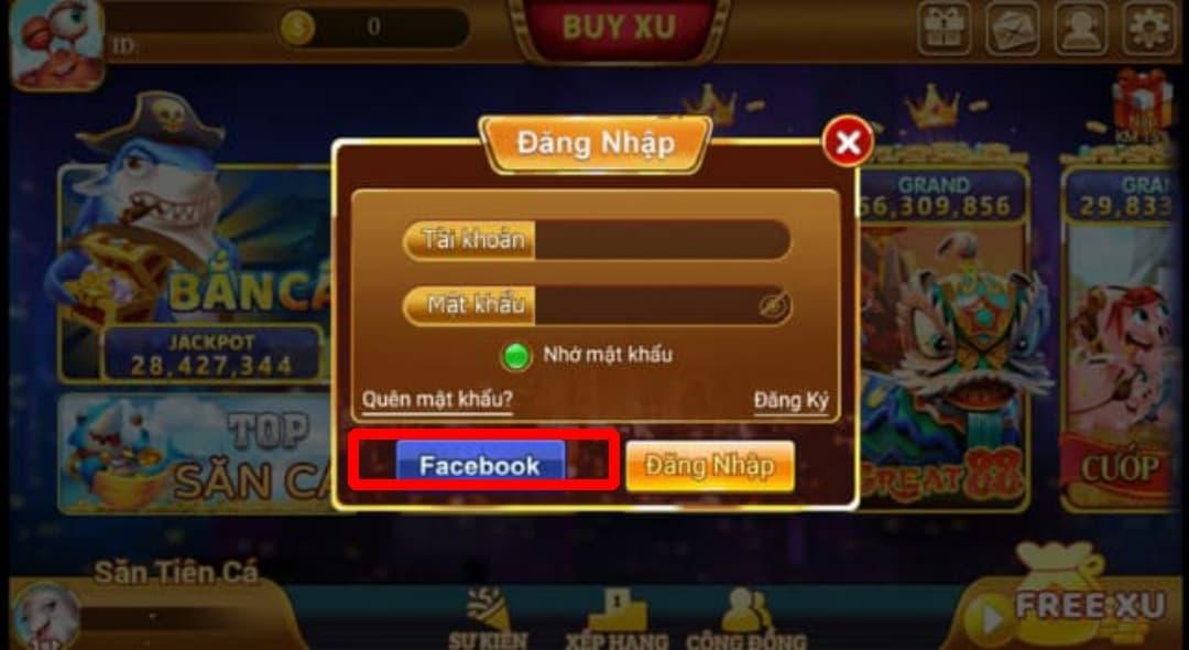 Đăng ký thông tin tài khoản facebook xu vàng 777