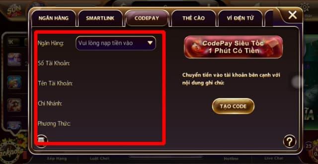 Điền đầy đủ các thông tin để bắt đầu quá trình nạp tiền qua Codepay