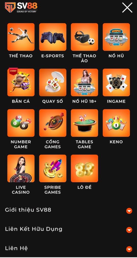 Kho game đa dạng và đồ sộ của nhà cái sv88