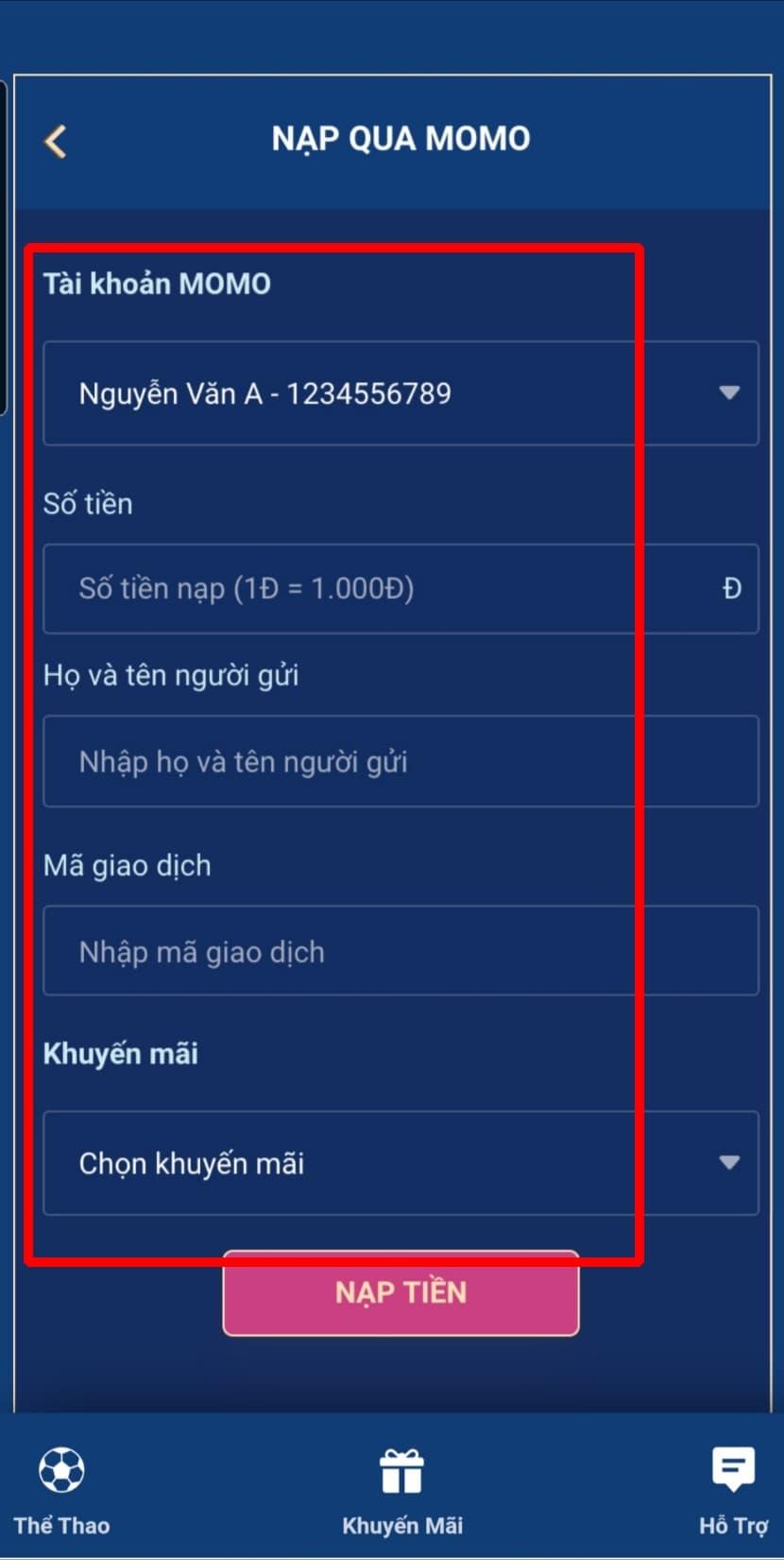 Điền đầy đủ thông tin tin để nạp tiền qua Momo