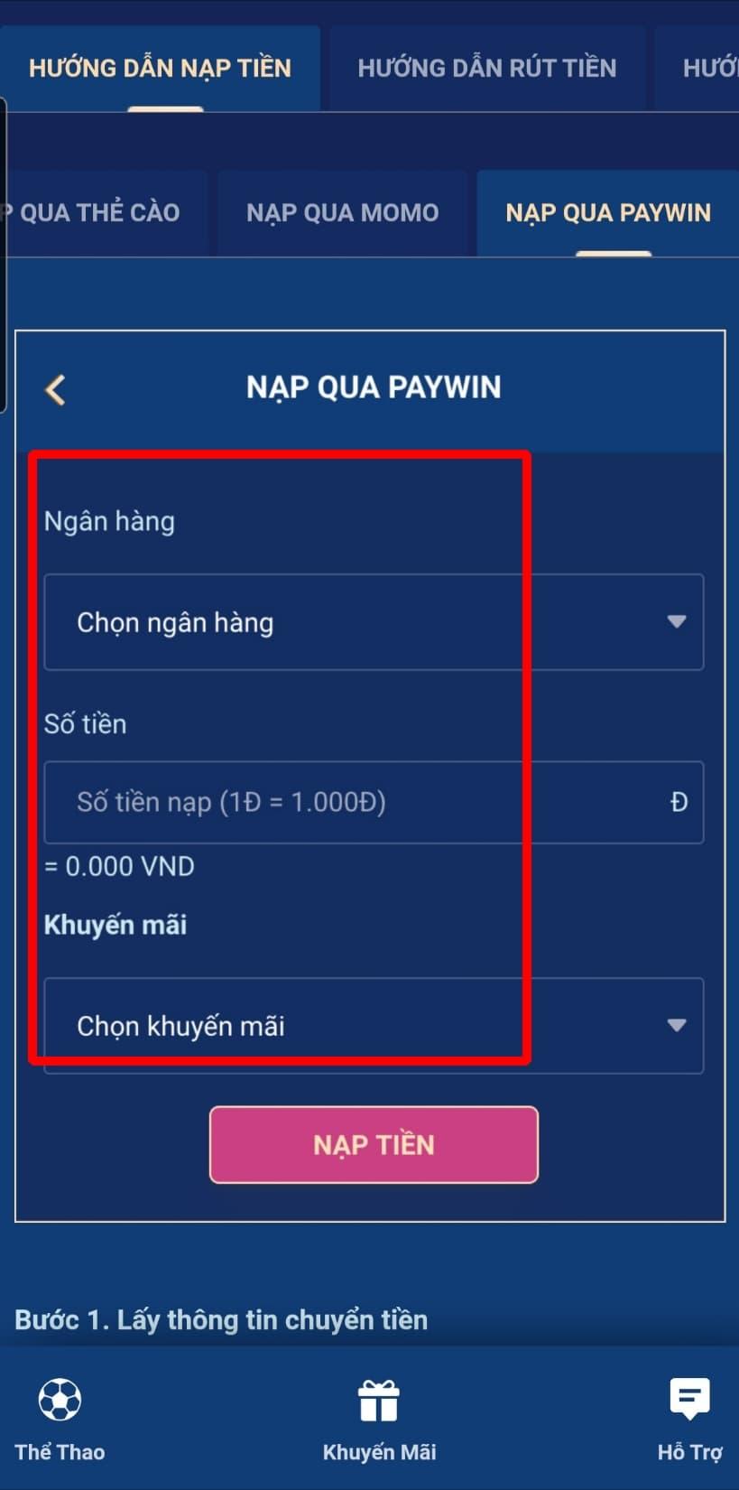 Điền đầy đủ các thông tin để nạp tiền qua Paywin