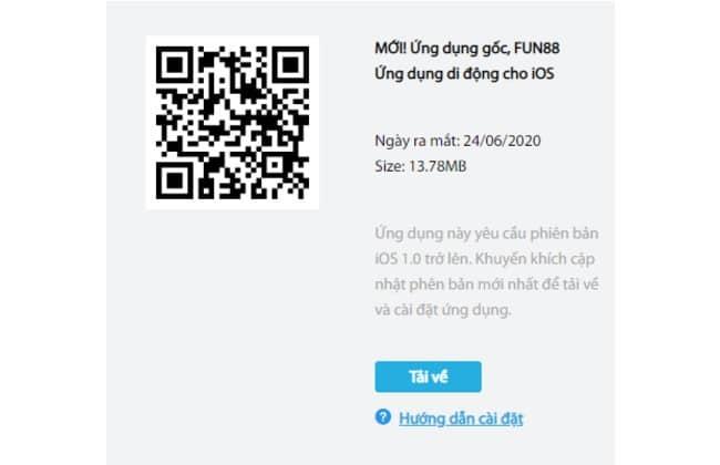 Quét mã QR để tải ứng dụng Fun88 về IOS