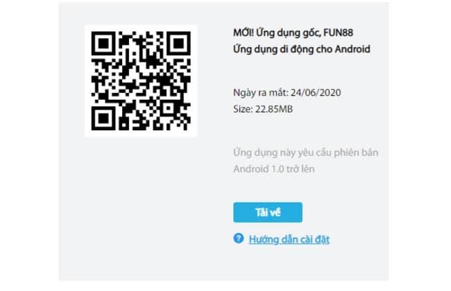 Quét mã QR để tải ứng dụng Fun88 về Android