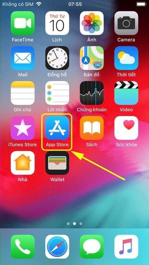 Bấm chọn ứng dụng APP STORE trên giao diện điện thoại có hệ điều hành IOS