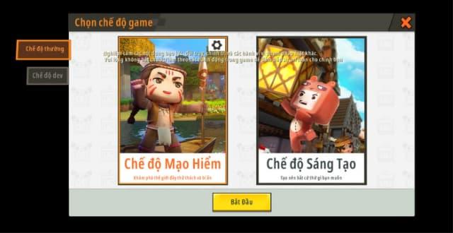 Các chế độ chơi có trong game mini world