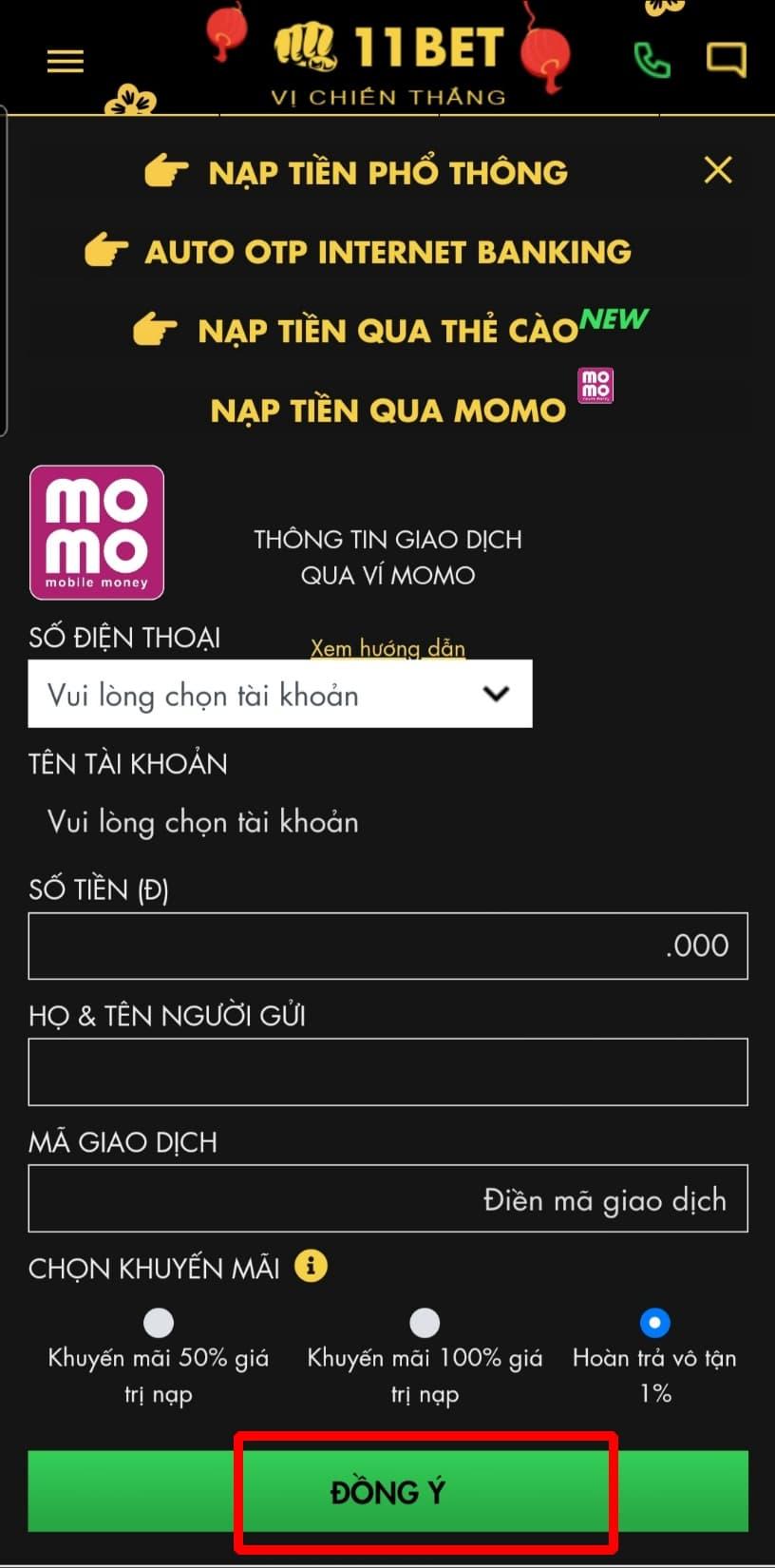 Bấm chọn ĐỒNG Ý để hoàn thành quá trình nạp tiền qua ví tiền điện tử Momo