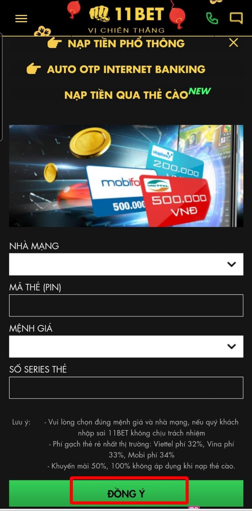 Bấm chọn ĐỒNG Ý để hoàn thành quá trình nạp tiền qua thẻ cào điện thoại