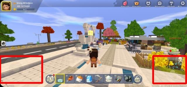 Nút điều khiển nhân vật trong game mini world