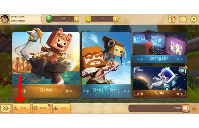 """Skin Mini World - Khởi động trò chơi, ở trang chính bạn chọn """"Tiệm"""""""