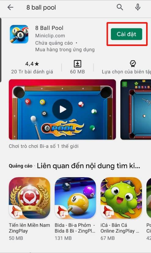 Bấm chọn CÀI ĐẶT để bắt đầu quá trình tải game 8 ball pool về Android