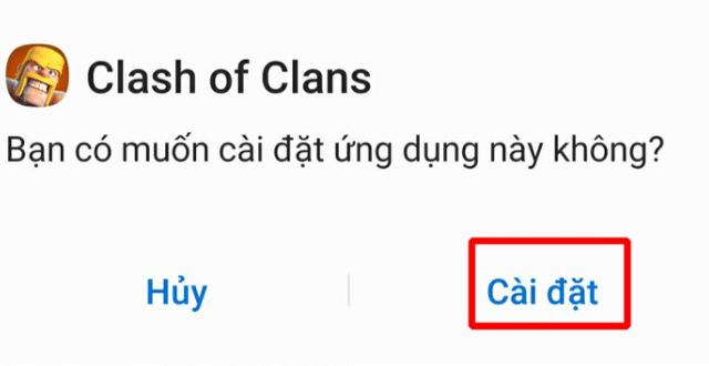Bấm chọn CÀI ĐẶT để tải clash of clans apk về máy