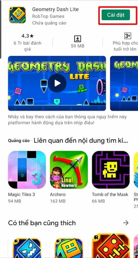 Bấm chọn CÀI ĐẶT để cài đặt game geometry dash lite trên Android