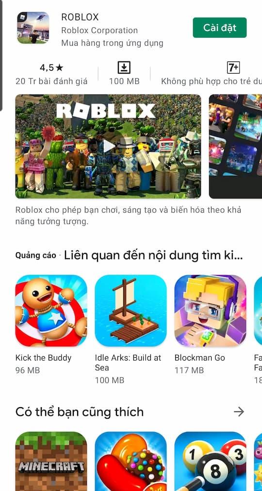Bấm chọn CÀI ĐẶT để tải trò chơi roblox về điện thoại có hệ điều hành Android