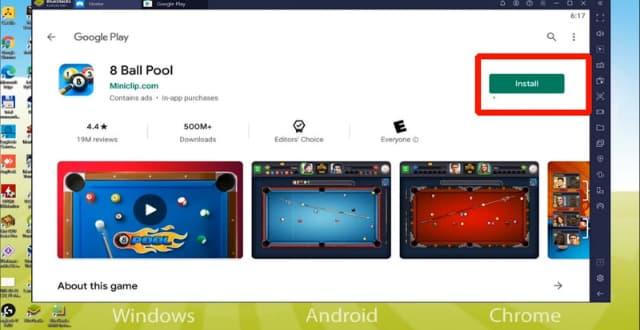 Bấm chọn INSTALL để tải game 8 ball pool