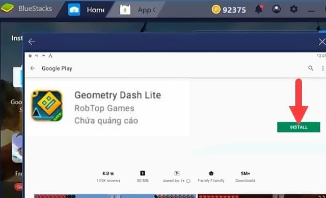 Bấm chọn INSTALL để bắt đầu cài đặt game geometry dash lite máy tính